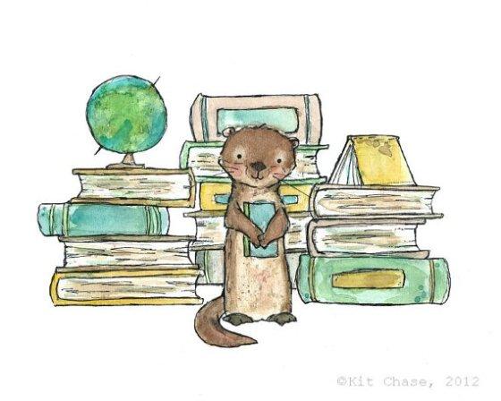 [bookish otter archival print]